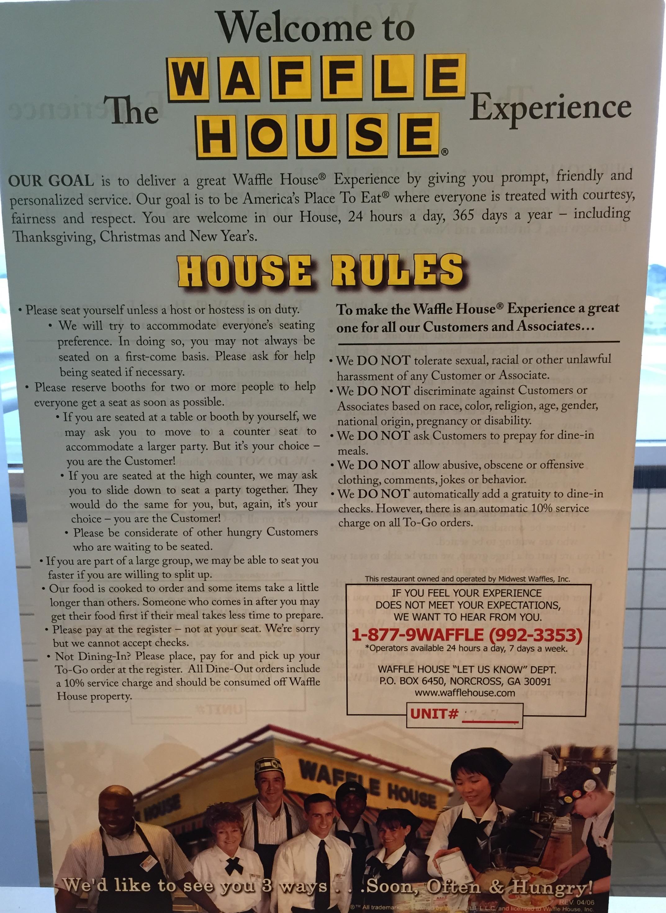 UX Analog User Experience Waffle House