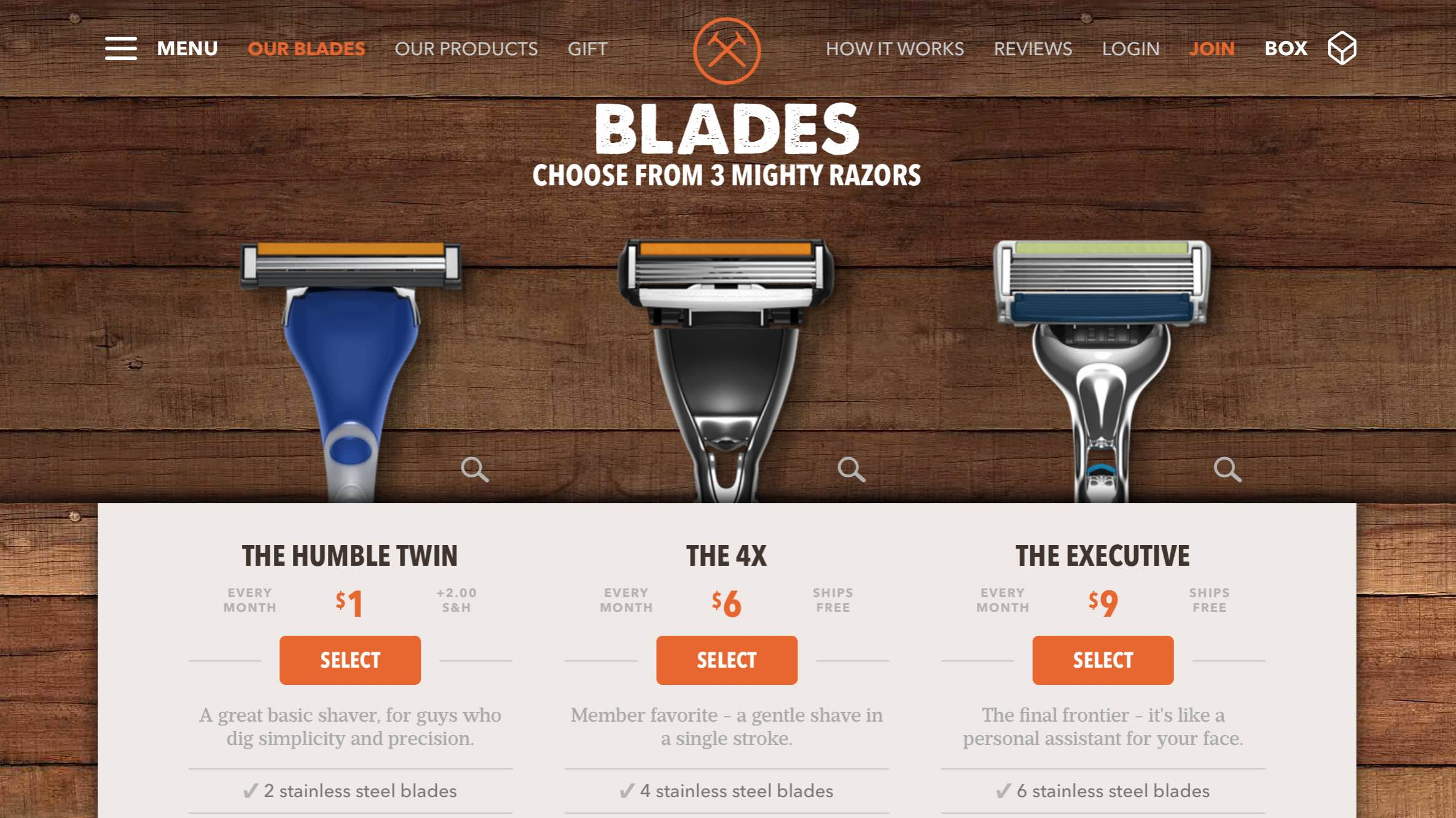 Dollar Shave Club UX (User Experience Sub Page Example