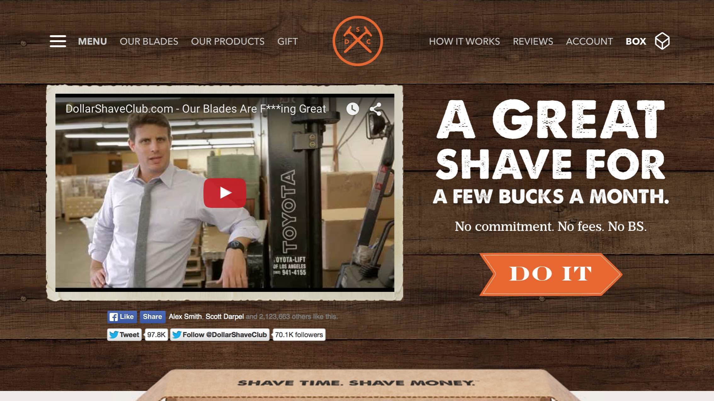 User-Experience (UX) Example Dollar Shave Club Website