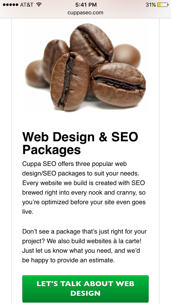 Mobile Friendly User Experience (UX) Example 1
