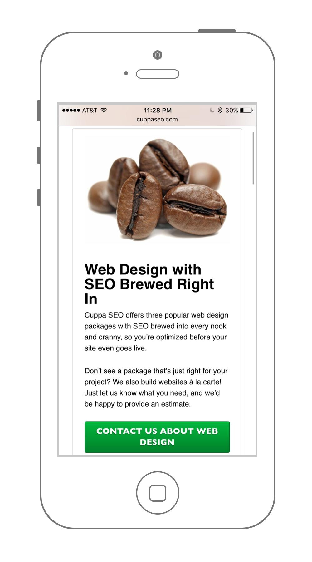 Cuppa SEO Website Design Mobile Subpage