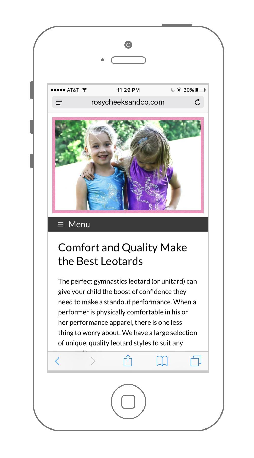 Mobile Website Design Sample Rosy Cheeks