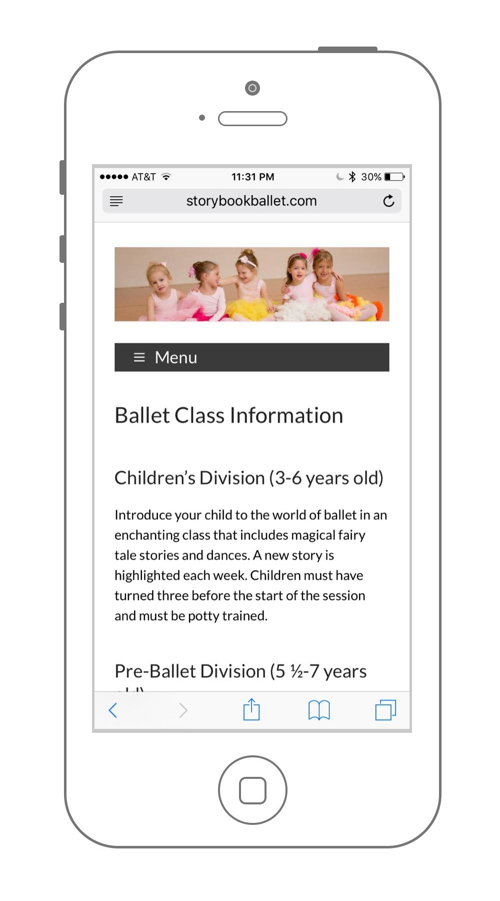 Web Design Madison WI Mobile Subpage Sample
