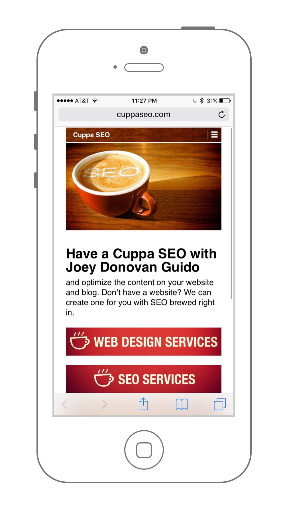 Web Design Mobile Sample Cuppa SEO