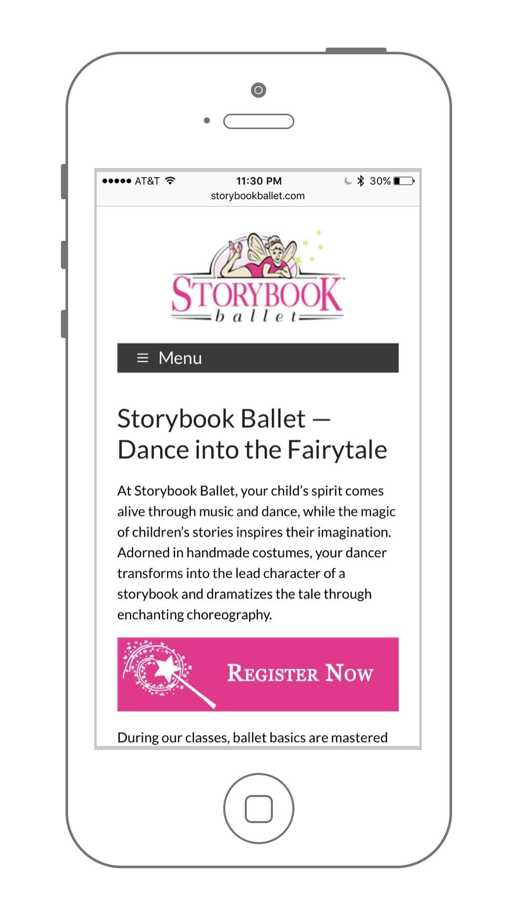 Website Design UX Storybook Ballet