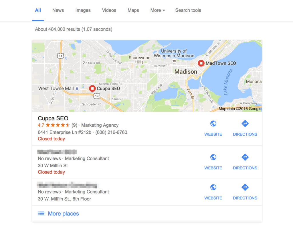 Google My Business Results Cuppa SEO Web Design Madison