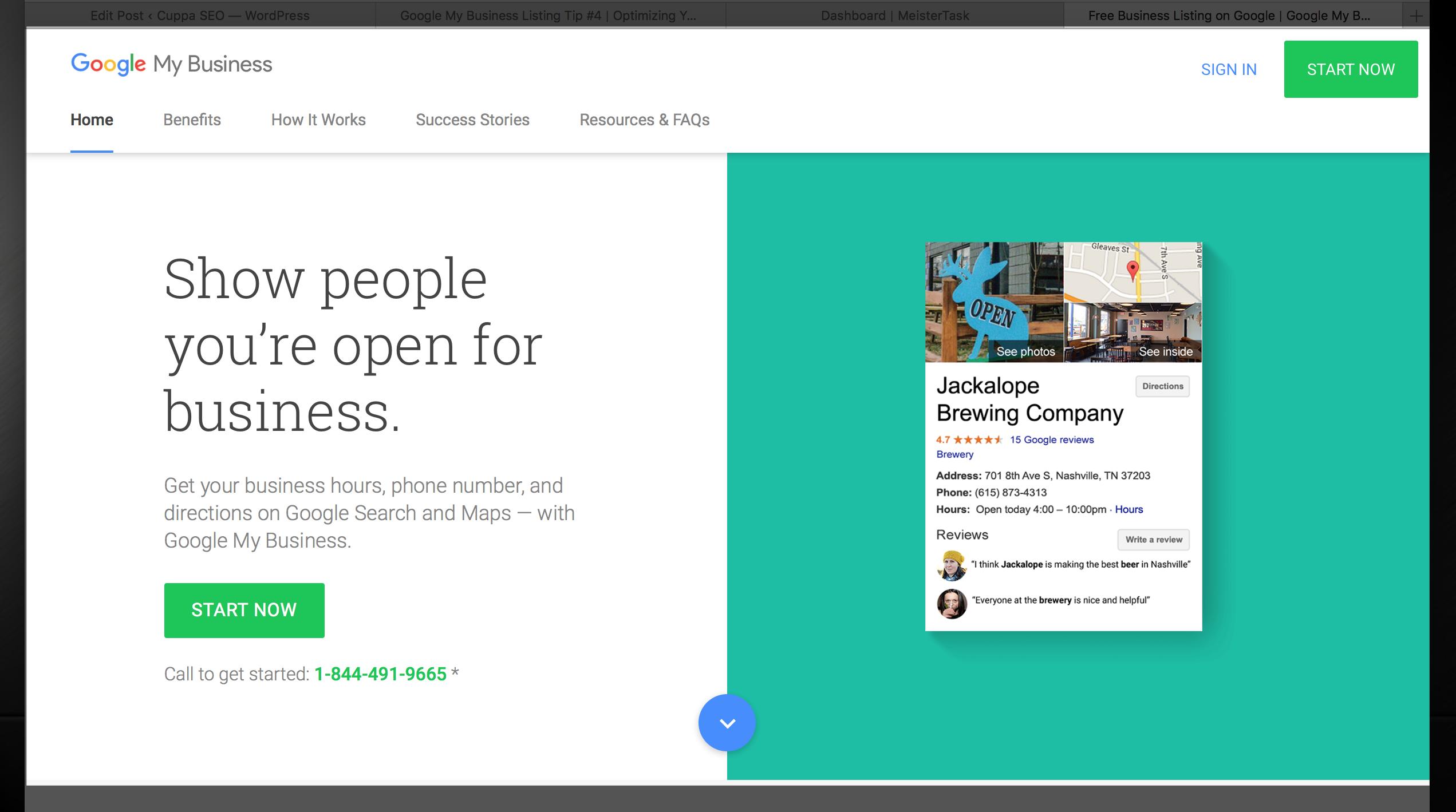 Google My Business Listing Login Screen