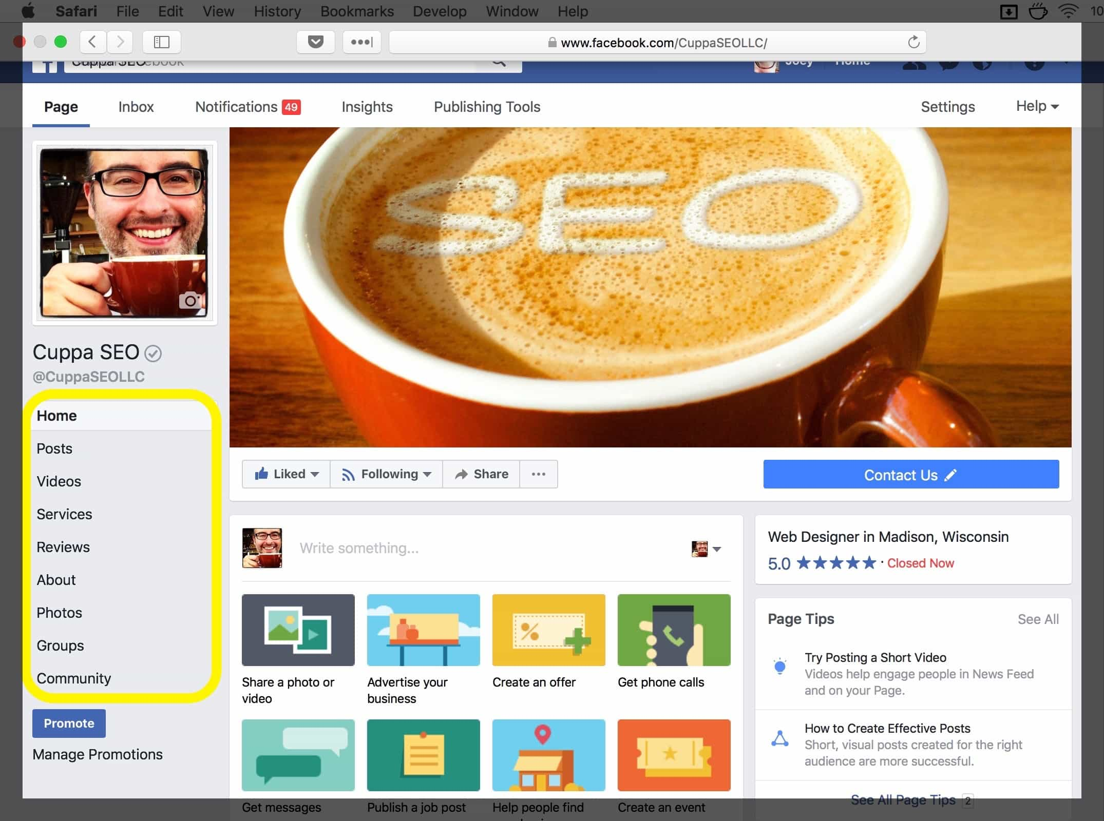 Facebook SEO Tips from Cuppa SEO Web Design