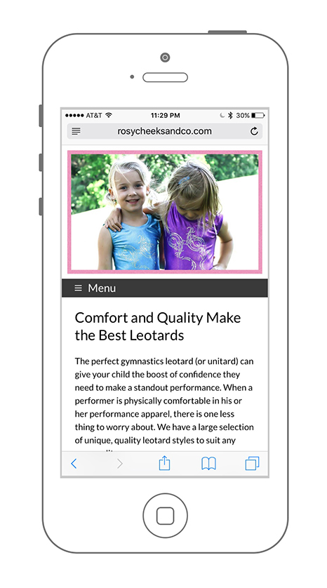 Mobile Friendly Website Design & UX Rosy Cheeks