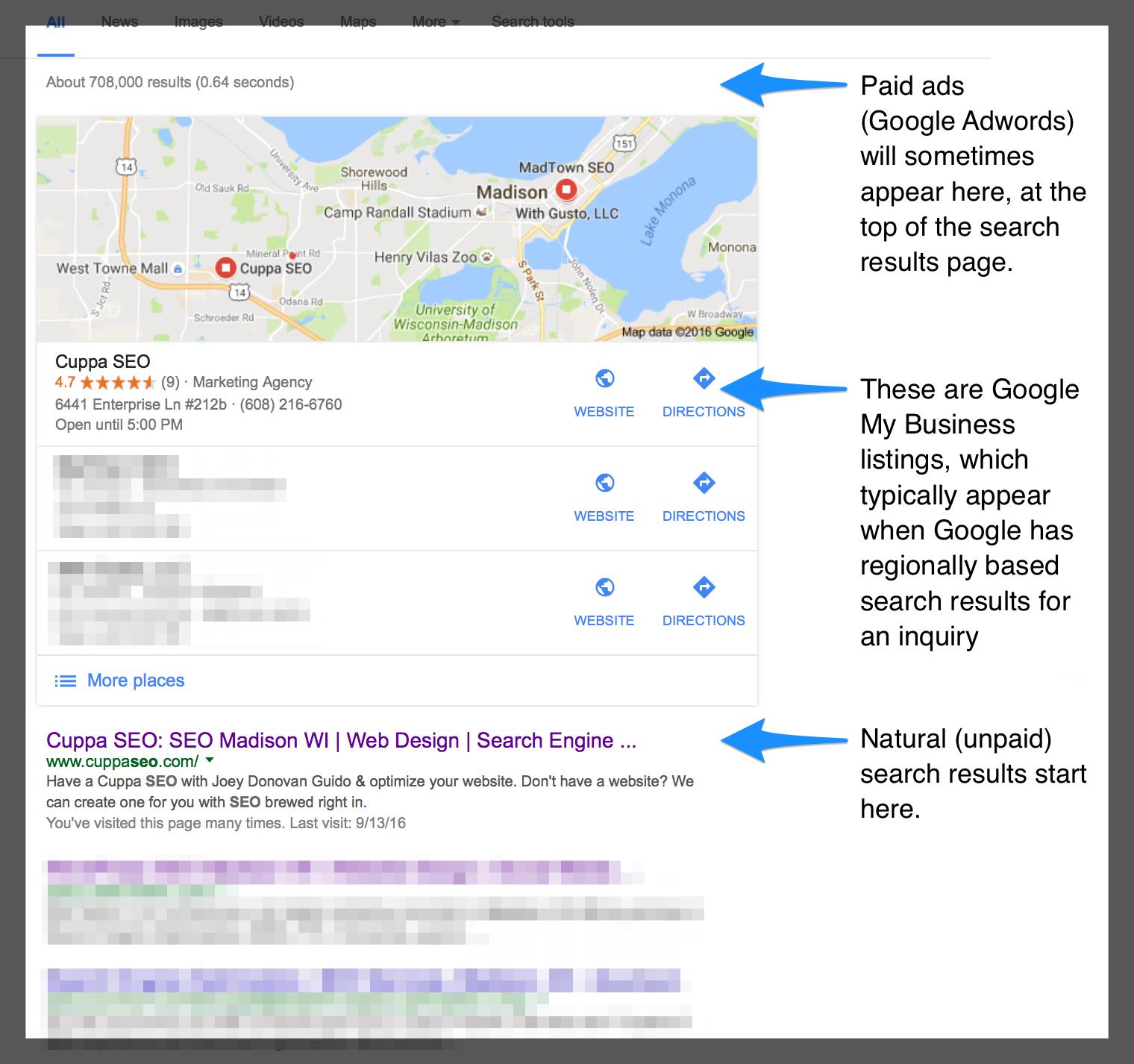Web Design Madison WI Google My Business Example